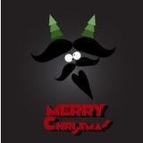 圣诞快乐髭和胡子 免版税库存照片