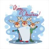 圣诞快乐!与海报的滑稽的鹿 图库摄影