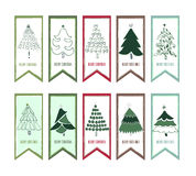 圣诞快乐,圣诞树横幅设计垂直的背景集合,传染媒介例证 免版税库存照片