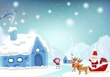 圣诞快乐,圣诞老人项目来临到有驯鹿汽车的镇 皇族释放例证