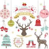 圣诞快乐,圣诞节开花,鹿,土气圣诞节,圣诞树,圣诞节装饰集合 免版税库存图片