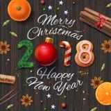 圣诞快乐,新年快乐2018年,葡萄酒背景 免版税库存图片
