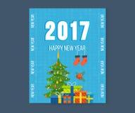 圣诞快乐,新年快乐贺卡有冬天背景 库存例证