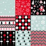 圣诞快乐,无缝的样式集合背景 库存图片