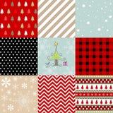 圣诞快乐,无缝的样式集合背景 免版税库存图片