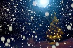 圣诞快乐!冷淡的冬天圣诞夜-在多雪的背景的不可思议的轻的彩色小灯在暴风雪和i期间的森林里 免版税库存图片