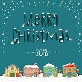圣诞快乐2018卡片 库存图片
