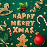 圣诞快乐贺卡用曲奇饼 图库摄影
