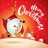 圣诞快乐!圣诞节雪场面的圣诞老人 看板卡圣诞节问候 免版税库存照片