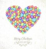 圣诞快乐水彩心脏例证卡片 库存图片