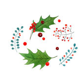 圣诞快乐水彩手拉的贺卡 在白色背景隔绝的假日设计 免版税库存照片