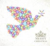 圣诞快乐水彩斑点和平鸠 免版税库存图片