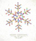 圣诞快乐水彩雪花例证 免版税库存照片