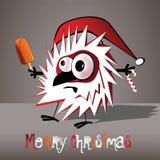 圣诞快乐滑稽的鸟 库存照片