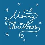 圣诞快乐登记 与古芝的线性手拉的字法 库存例证