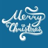 圣诞快乐登记 与曲线的手拉的字法 v 皇族释放例证
