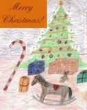 圣诞快乐!-铅笔图画 向量例证
