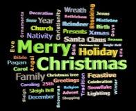 圣诞快乐3D发短信给问候面对词的云彩  免版税图库摄影