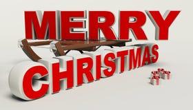 圣诞快乐3d文本、雪撬和礼物高分辨率 库存照片