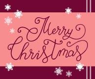 圣诞快乐BHandwritten现代刷子书法字法在桃红色背景的与雪花 图库摄影