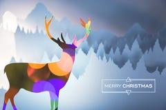 圣诞快乐bokeh鹿纸切开了森林卡片 免版税库存图片