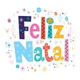 圣诞快乐Feliz新生-葡萄牙语-葡萄牙字法装饰文本 免版税图库摄影