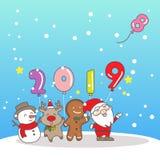 圣诞快乐wih 2019年 库存照片