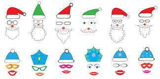 圣诞晚会为设计,传染媒介的照片摊设置了-玻璃,帽子,嘴唇,眼睛,王冠,髭,面具- 库存图片
