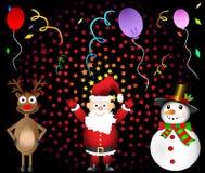 圣诞晚会圣诞老人红色被引导的驯鹿和雪人集合  免版税库存图片