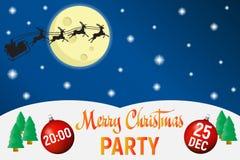 圣诞晚会海报模板,传染媒介背景 皇族释放例证