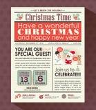 圣诞晚会海报邀请在报纸样式的背景 免版税库存图片