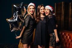 圣诞晚会的妇女 库存照片
