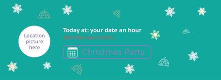 圣诞晚会盖子事件-邀请例证-,平的设计,定制 增加您的照片设计 向量例证