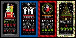 圣诞晚会邀请卡集 免版税库存照片