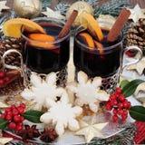 圣诞晚会食物和饮料 库存图片