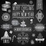 圣诞晚会黑板集合 免版税库存图片