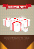 圣诞晚会 海报和飞行物模板 图库摄影