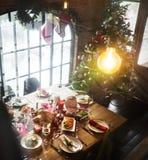 圣诞晚餐党 库存图片