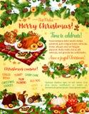 圣诞晚餐庆祝传染媒介贺卡 库存例证