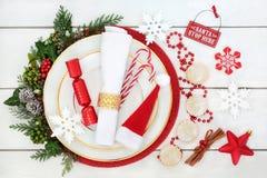圣诞晚餐表餐位餐具 图库摄影
