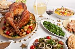 圣诞晚餐表 免版税库存图片