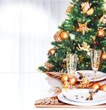 圣诞晚餐边界 免版税库存图片