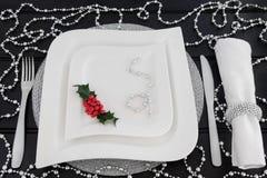 圣诞晚餐餐位餐具 免版税库存图片