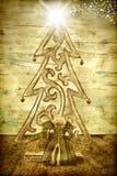 圣诞树、天使和伯利恒星 免版税库存照片