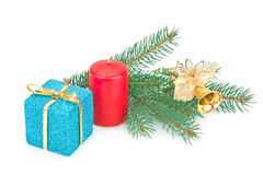 圣诞树、礼物和玩具 免版税库存图片