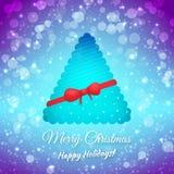 圣诞树。丝带和弓。被弄脏的欢乐 免版税库存照片