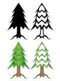 圣诞树一套风格化色的和黑白圣诞树 库存例证