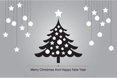 圣诞树与剪影传染媒介的贺卡背景例证的 库存照片