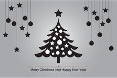 圣诞树与剪影传染媒介的贺卡背景例证的 库存图片