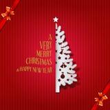 圣诞树与圣诞快乐的贺卡&新年好、传染媒介&例证 免版税图库摄影